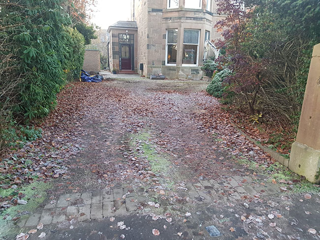 Before photo of the driveway in Glasgow. Newlands Road
