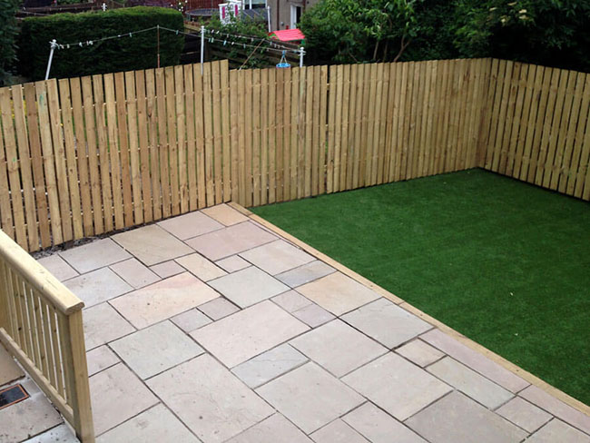 Fencing with garden patio Glasgow and artificial grass