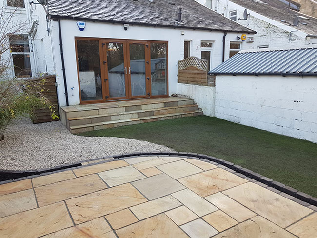 New patio created as well and landscape of garden in Glasgow