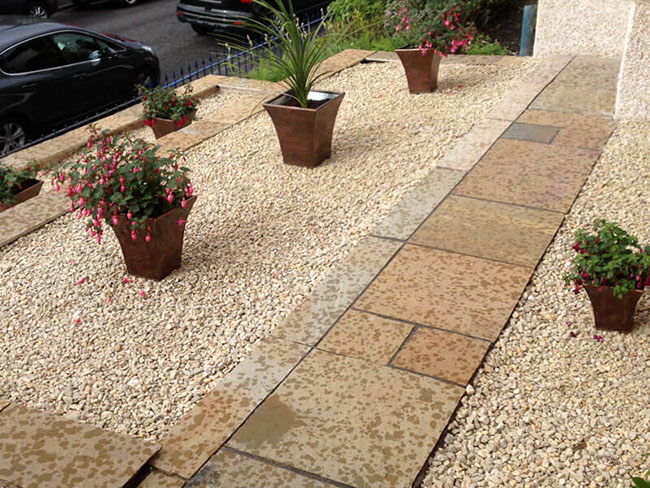 Front garden patio Glasgow with slabs & decorative chips