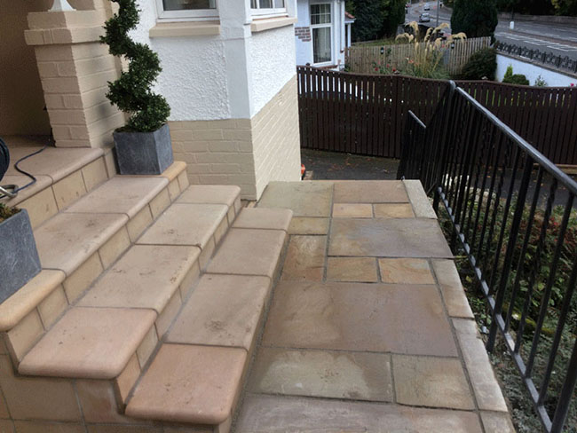 Indian sandstone front patio Glasgow